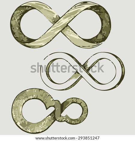 Infinity symbol. Shades of green and yellow. Raster version - stock photo