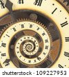 Infinity time with vintage clock. Digital generated - stock photo