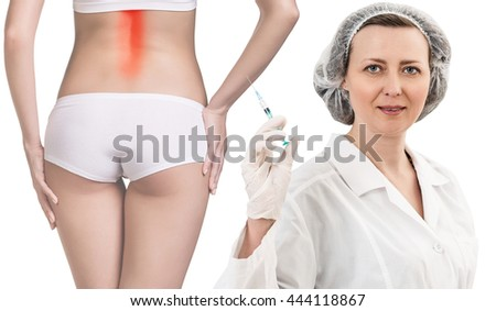 Inflamed back, isolated, white background - stock photo