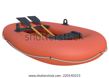 inflatable boat on a white background - stock photo