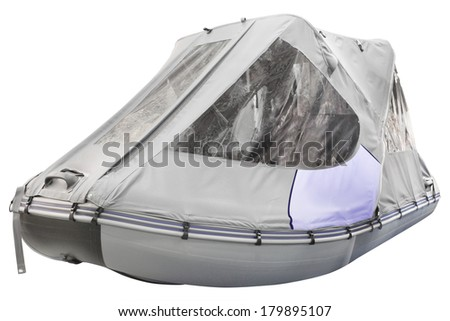 inflatable boat under the white background - stock photo
