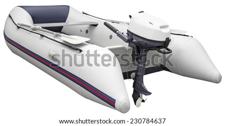 Inflatable dinghy with Outboard motor, isolated on white background with Clipping Path - stock photo