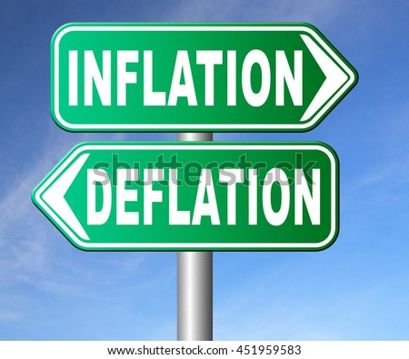 inflation deflation bank crisis or financial and economic recession or stock market crash or rise sign 3D illustration, isolated, on white   - stock photo