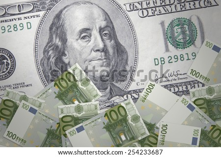 Inflation in the euro against the US dollar - stock photo