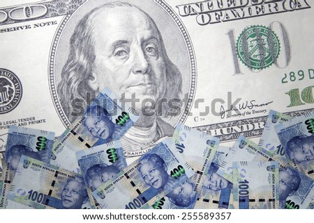 Inflation in the South African rand against the US dollar - stock photo