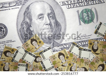 Inflation Korean won against the background of US dollar - stock photo