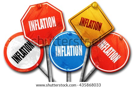 Inflation sign background, 3D rendering, rough street sign colle - stock photo