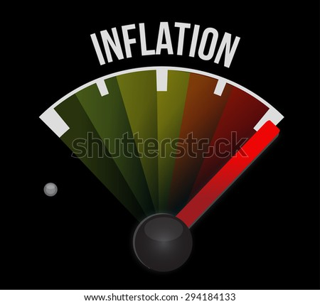 inflation speedometer sign concept illustration design graphic - stock photo