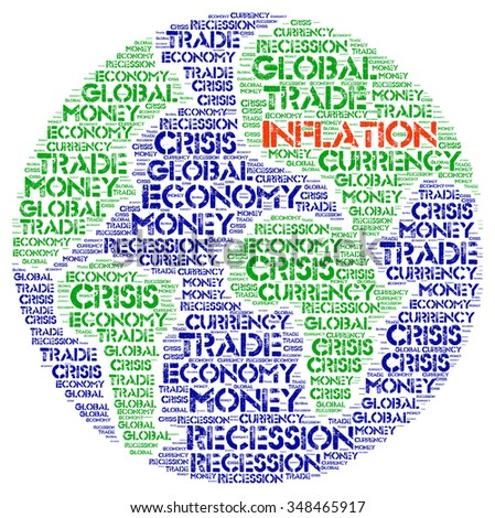 INFLATION. Word collage on white background. Illustration with different association terms. - stock photo