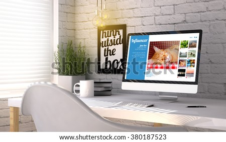 influencer marketing concept: Computer generated with influencer profile on the screen on stylish workplace. All graphics are made up. - stock photo