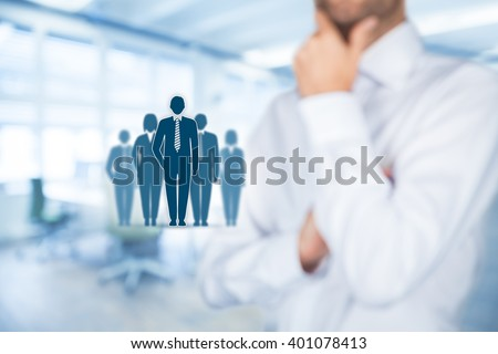 Influencer, opinion leader, team leader, CEO and another business leading concepts. Opinion leader (for example politician) has power to influence opinion mass of people especially customers. - stock photo