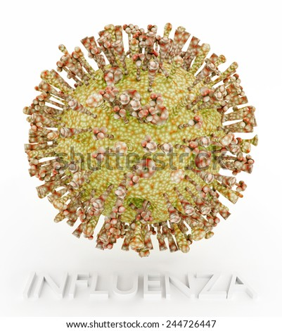 Influenza Virus illustration with text name.The image depicts the icosahedral body of the virus, the ion channel, hemagglutinin and neuraminidase protrusions. - stock photo