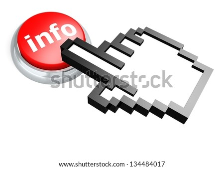 Info button with hand cursor - stock photo
