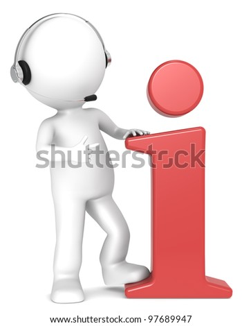 Info. 3D little human character with an Info Symbol and a Headset. Red. People series. - stock photo