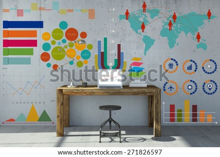 Info graphic and statistics on home office wall with desk and laptop computer (3D Rendering) - stock photo