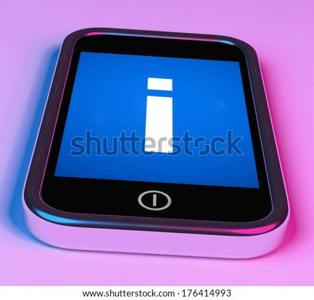Info Sign On Phone Showing Information And Assistance - stock photo