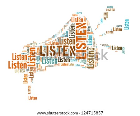 Info text graphic Listen in loud haler word cloud isolated in white background - stock photo