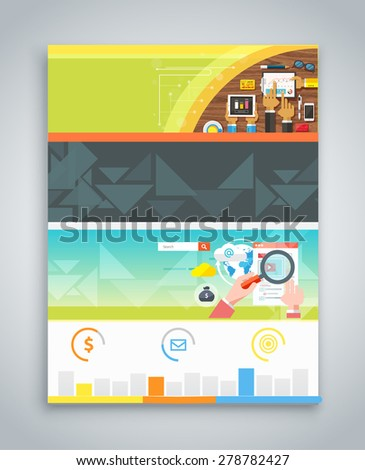 Infographic business brochures banners analitics, strategy. Modern stylized graphics. Web banners marketing and promotional materials, flyers, presentation. Business plan strategy. Raster version - stock photo