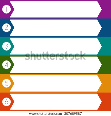 Infographic Colourful arrows template from white strips with text areas on 6 positions - stock photo