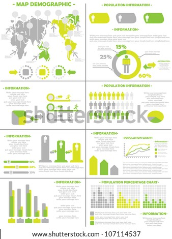 INFOGRAPHIC DEMOGRAPHICS  POPULATION 3 YELLOW - stock photo