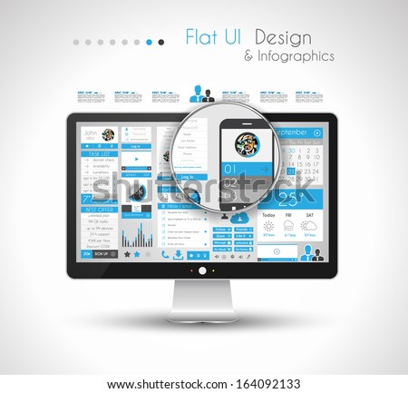 Infographic Design Template with modern flat style. Ideal to display data and for product ranking or generic classification of items. - stock photo