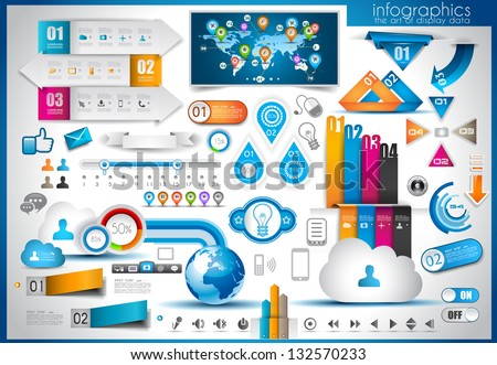 Infographic elements - set of paper tags, technology icons, cloud cmputing, graphs, paper tags, arrows, world map and so on. Ideal for statistic data display. - stock photo