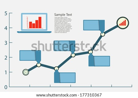 infographic graph with laptop - stock photo