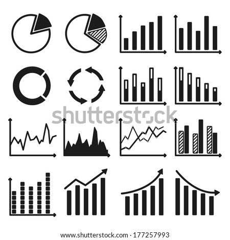 Infographic icons. Set of charts and graphs. Raster illustration. Vector version is also included in the portfolio.  - stock photo