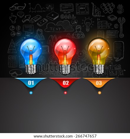Infographic Layout for Brainstorming Concept background with graphs sketches. A lot of hand drawn infographics and related design elements are included plus 3D glossy lamp. - stock photo