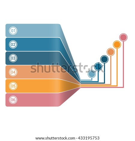 Infographic Strips Perspective 6 position - stock photo
