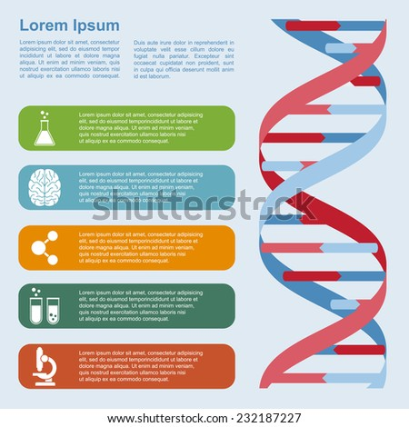 infographic template with DNA structure and icons, research, development, science and biotechnology concept - stock photo
