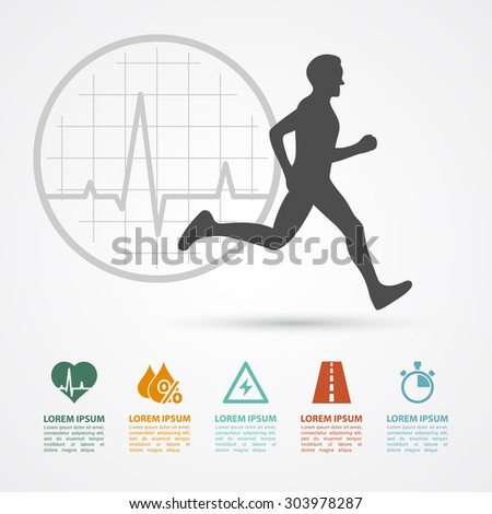 infographic template with running man silhouette and icons: heartbeat, water, energy, distance, time; healthcare, fitness, training concept - stock photo