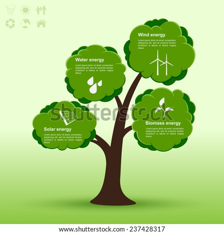 infographic template with tree and icons of alternative energy sources, ecology, alternative energy concept - stock photo