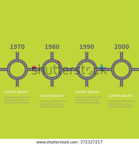 Infographic Timeline four step round circle crossroad set. Road white marking and cartoon cars. Template. Flat design. Green grass background.   - stock photo