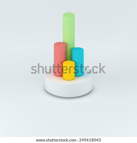 Infographics 3d elements. 3d columns chart with shadow. Business step options. Cylinder solid and timeline diagram with icons. Modern colored banner with four options.  - stock photo