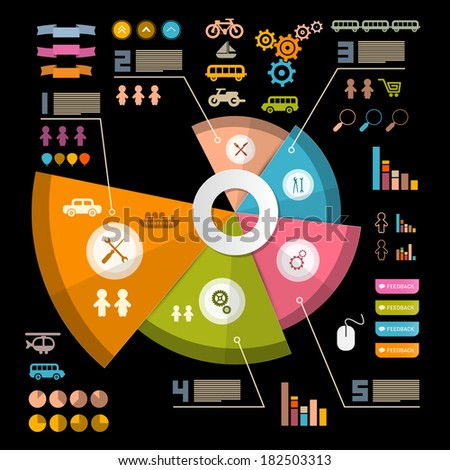 Infographics Layout with Icons - Elements on Black Background - stock photo