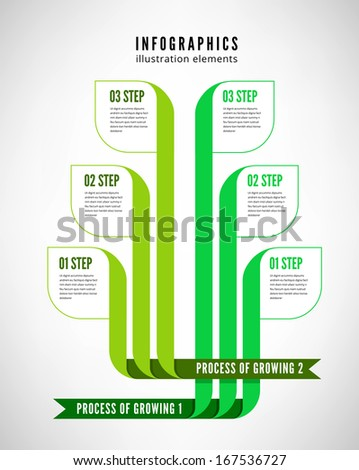 Infographics process descriptions cultivation and manufacture anything. It is also possible to compare two products. - stock photo