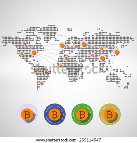 Infographics with the image map of the world, Bitcoin - stock photo
