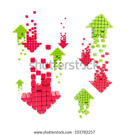 Information and money market exchange concept as arrow icons composition isolated on white - stock photo