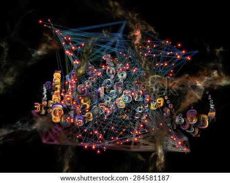 Information Cloud series. Composition of connected abstract elements with metaphorical relationship to cloud networking, information, data storage and modern technology - stock photo