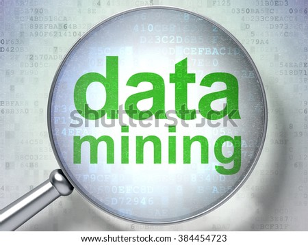Information concept: Data Mining with optical glass - stock photo