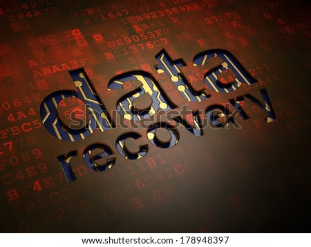 Information concept: digital screen with word Data Recovery, 3d render - stock photo