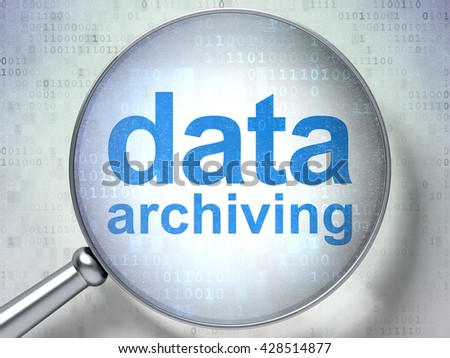 Information concept: magnifying optical glass with words Data Archiving on digital background, 3D rendering - stock photo