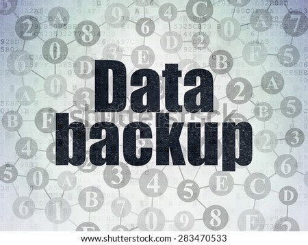 Information concept: Painted black text Data Backup on Digital Paper background with  Scheme Of Hexadecimal Code, 3d render - stock photo