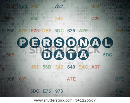Information concept: Painted blue text Personal Data on Digital Paper background with Hexadecimal Code - stock photo