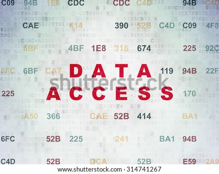 Information concept: Painted red text Data Access on Digital Paper background with Hexadecimal Code - stock photo