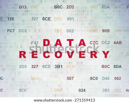 Information concept: Painted red text Data Recovery on Digital Paper background with Hexadecimal Code, 3d render - stock photo