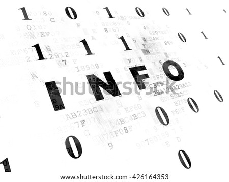 Information concept: Pixelated black text Info on Digital wall background with Binary Code - stock photo