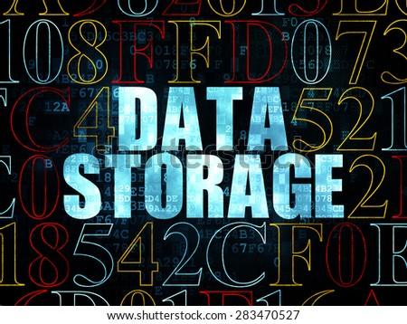Information concept: Pixelated blue text Data Storage on Digital wall background with Hexadecimal Code, 3d render - stock photo