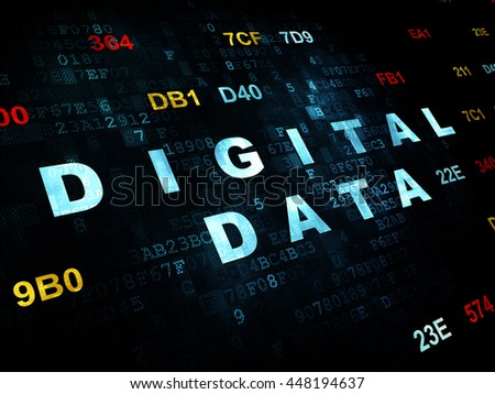 Information concept: Pixelated blue text Digital Data on Digital wall background with Hexadecimal Code - stock photo